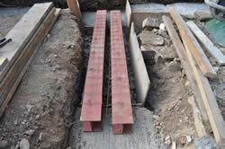 Steel beams in position